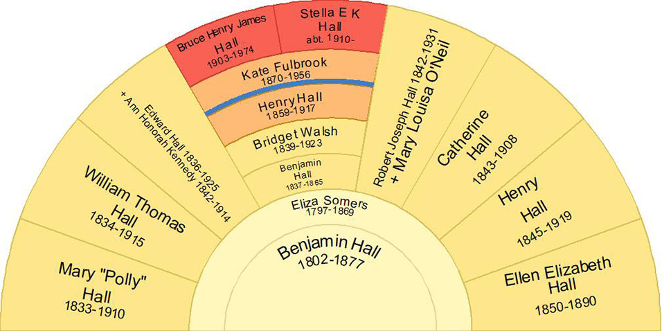 Descendant fan chart of Benjamin Hall and Eliza Somers including Henry & Kate Hall