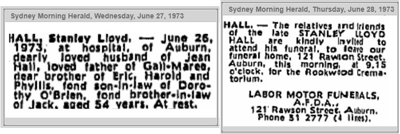 Death and cremation of Stanley Lloyd Hall