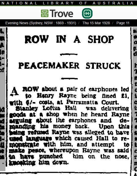 Stanley Loftus Hall A row In a Parramatta shop